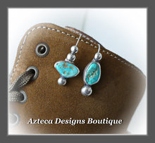Load image into Gallery viewer, Arizona Turquoise Nuggets+Hand Fabricated Silver+Asymmetrical Earrings+Embracing Individuality