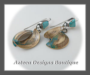 Twist+Nevada Turquoise+Hand Fabricated Silver+Brass+Artisan Earrings