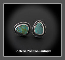 Load image into Gallery viewer, Nevada Turquoise+Mismatch Post Earrings+Hand Fabricated Sterling Silver+Embracing Individuality