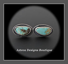 Load image into Gallery viewer, RESERVED FOR ADRIENNE!  Nevada Turquoise+Mismatch Post Earrings+Hand Fabricated Sterling Silver+Embracing Individuality