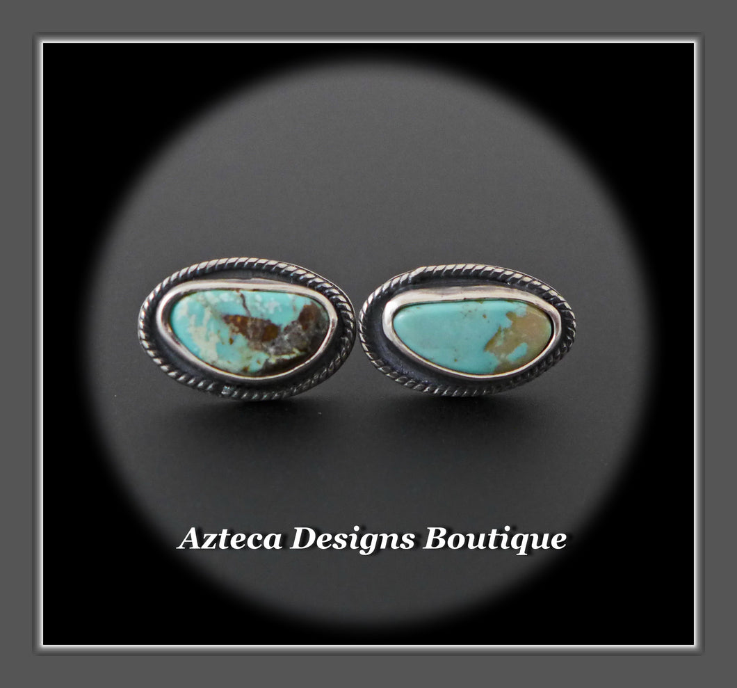 RESERVED FOR ADRIENNE!  Nevada Turquoise+Mismatch Post Earrings+Hand Fabricated Sterling Silver+Embracing Individuality