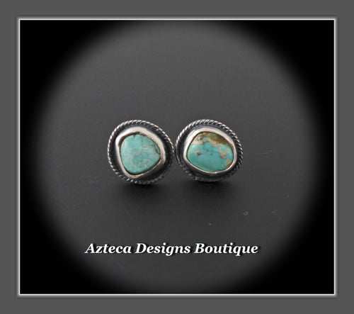Nevada Turquoise+Mismatch Post Earrings+Hand Fabricated Sterling Silver+Embracing Individuality