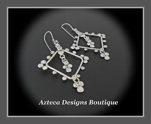 Exotic+Hand Fabricated Argentium Silver+Earrings
