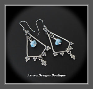 Larimar Lace+Hand Fabricated Argentium Silver+Earrings