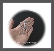 Load image into Gallery viewer, Larimar Lace+Hand Fabricated Argentium Silver+Earrings