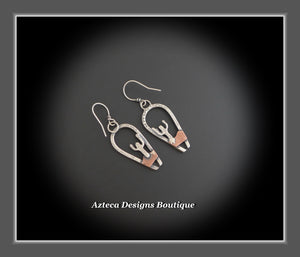 Saguaro Earrings+Hand Fabricated Argentium Silver+Copper
