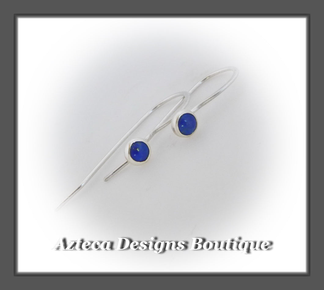 Blue Lapis Lazuli+Argentium Silver+Minimalist Hook Earrings