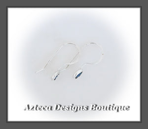Teal Paua Shell Freeform+Argentium Silver+Minimalist Hook Earrings