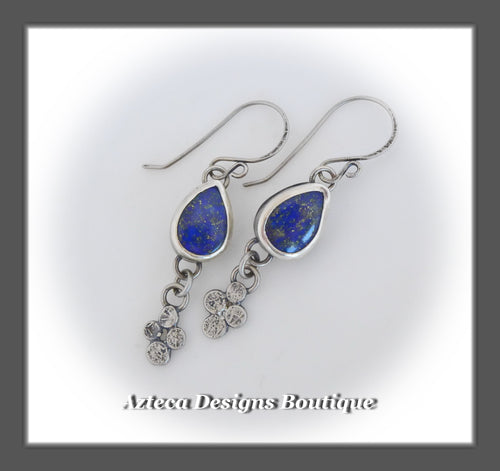 Blue Lapis Lazuli+Argentium Silver+Dramatic Charm+Tear Drop Earrings
