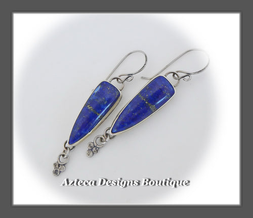 Blue Lapis Lazuli+Argentium Silver+Old World Charm+Earrings