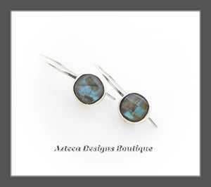 Round Labradorite Blue Green+Faceted+Argentium Silver+Hook Latch Earrings