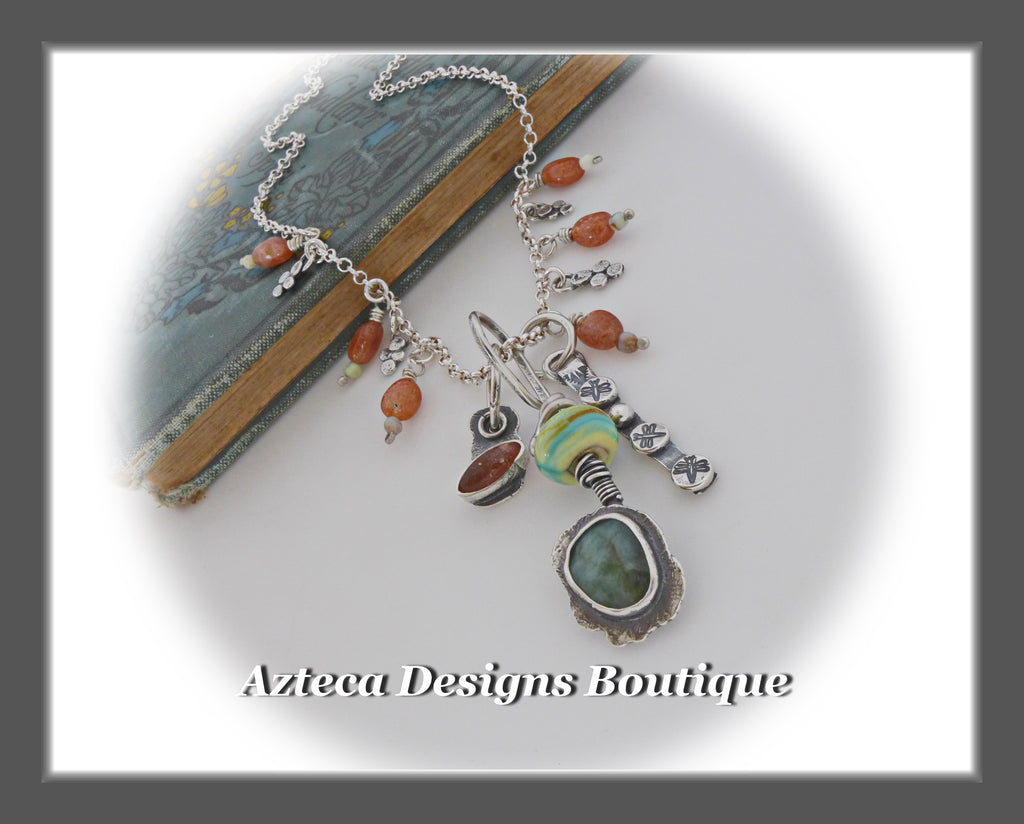 Garden Whimsy+Sunstone+Emerald+Opal+Hand Fabricated Silver Necklace