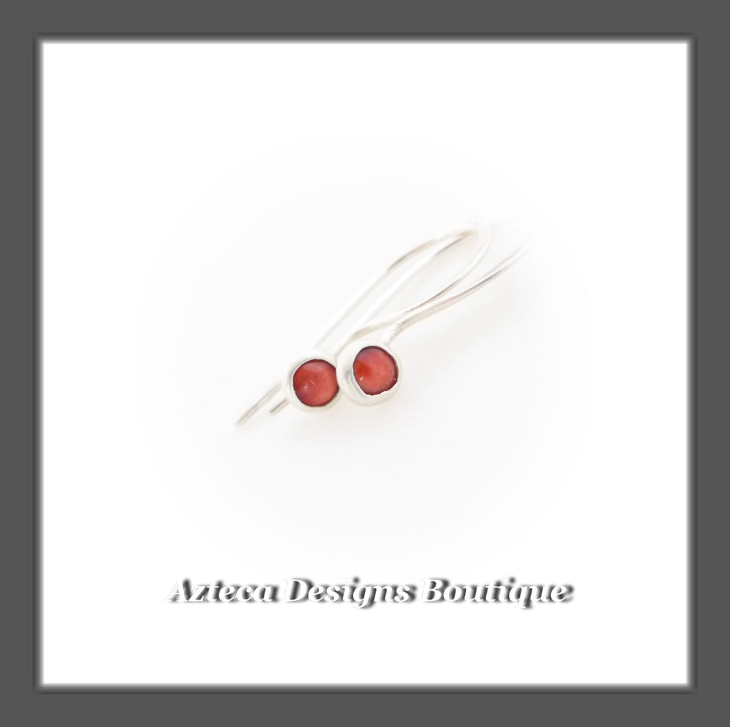 Red Spiny Oyster+Argentium Silver+Minimalist Hook Earrings