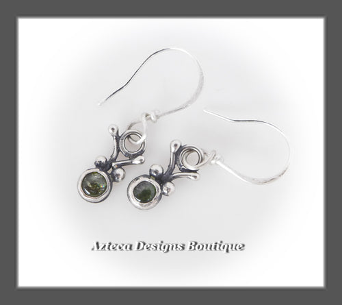 Green Tourmaline+Argentium Silver+Tiny Bug Earrings