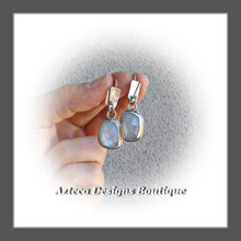 Load image into Gallery viewer, White Moonstone Rosecut+Argentium Silver+Misty Morning+Earrings