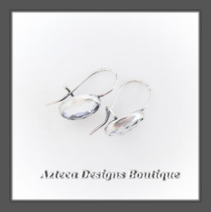 Dragonfly+Clear Quartz Crystal Faceted+Argentium Silver+Hook Latch Earrings (M)