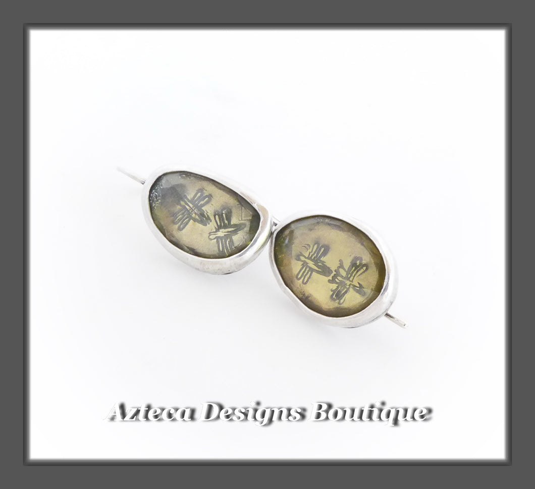 Lemon Quartz Rosecut+Double Dragonfly+Argentium Silver+Hook Latch Earrings