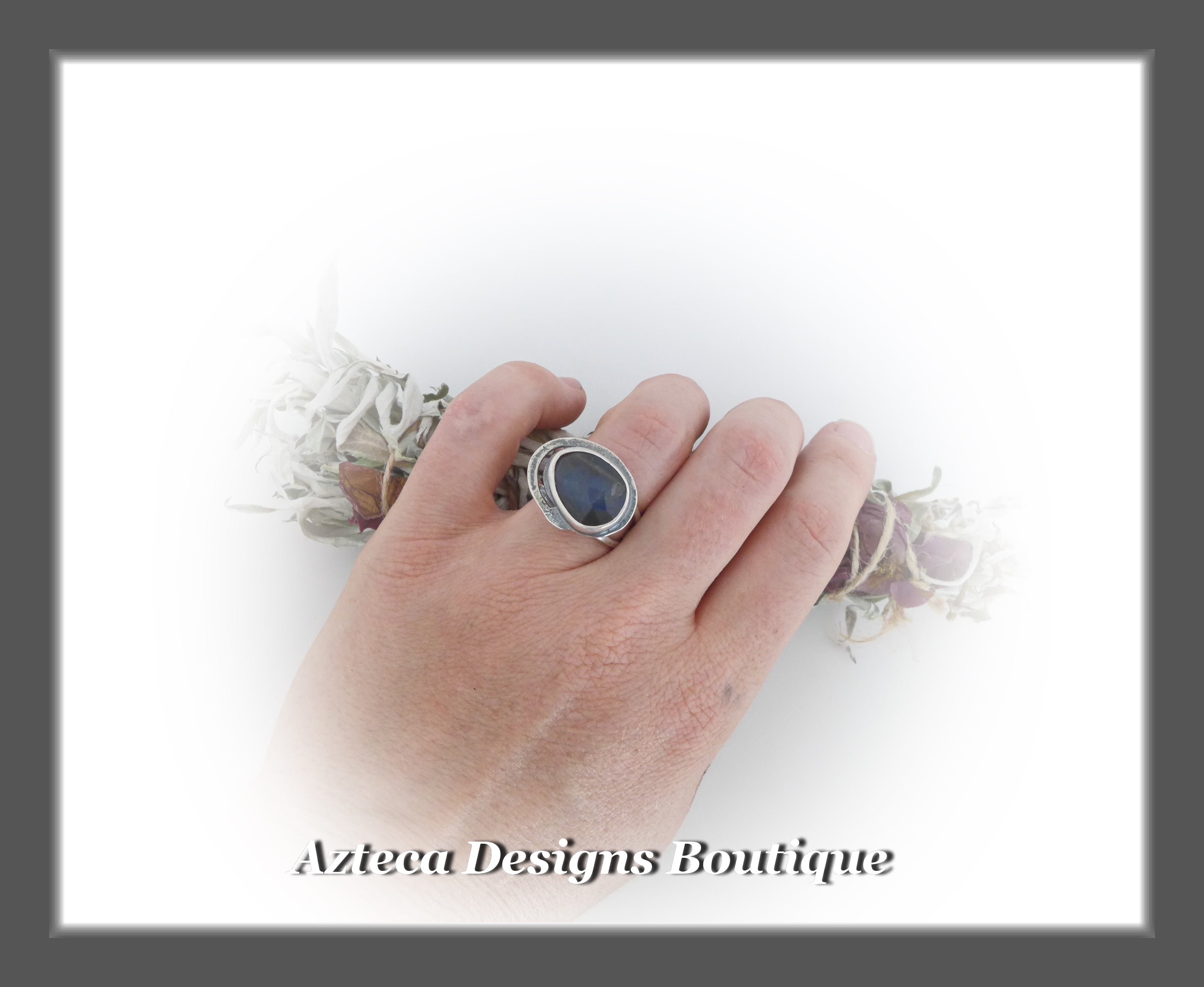 Rosecut Labradorite Ring+Size 9+Argentium Silver Hand Fabricated Antique Finish
