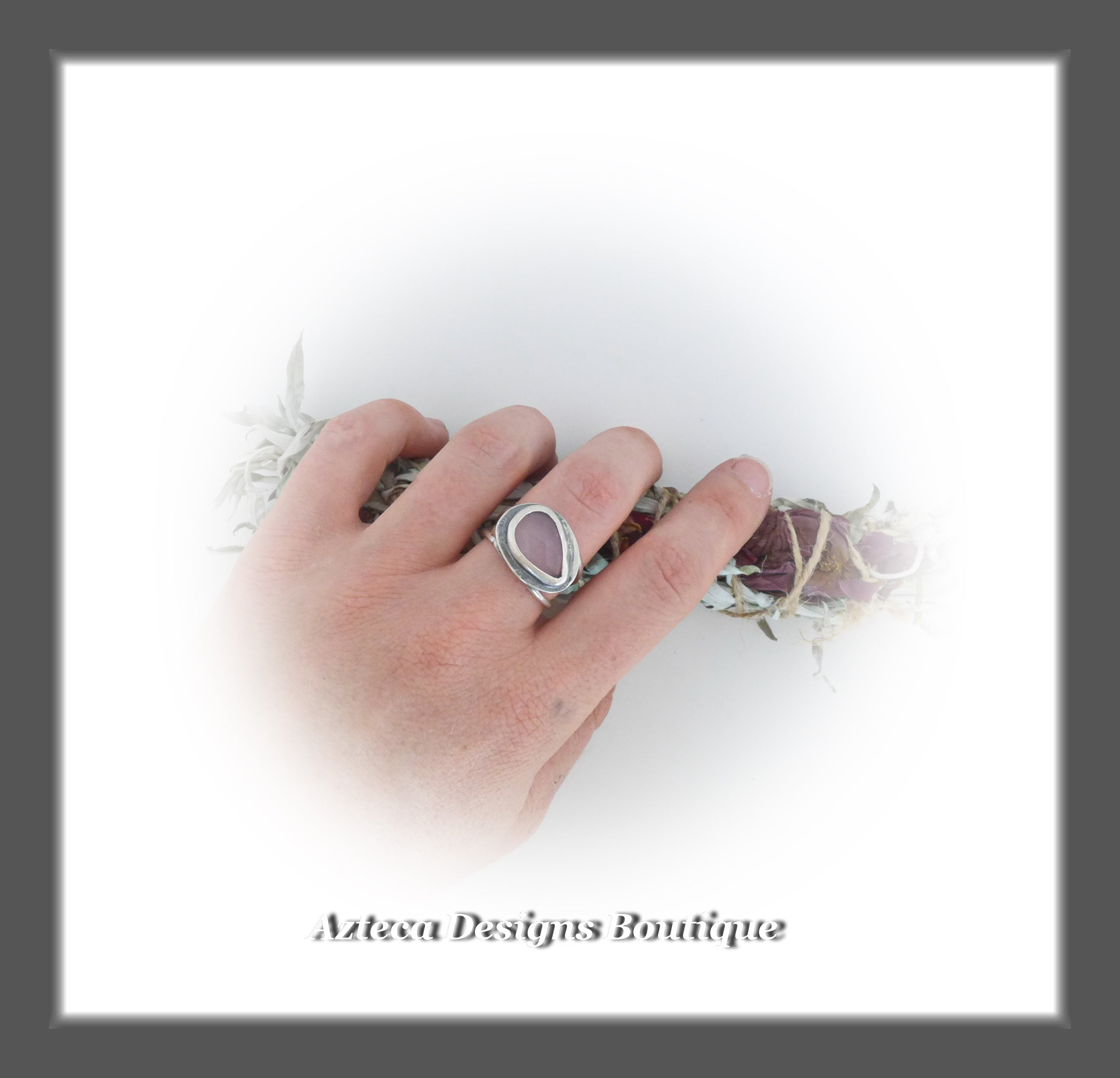 Rosecut Pink Chalcedony Ring+Size 9+Argentium Silver Hand Fabricated Antique Finish