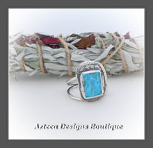 Load image into Gallery viewer, Sleeping Beauty Turquoise Rough Top Ring+Size 9+Argentium Silver Hand Fabricated Antique Finish