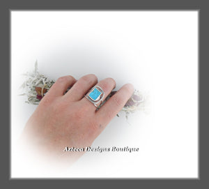 Sleeping Beauty Turquoise Rough Top Ring+Size 9+Argentium Silver Hand Fabricated Antique Finish