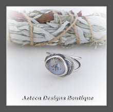 Load image into Gallery viewer, Rosecut Dendritic Opal Ring+Size 11+Argentium Silver Hand Fabricated Antique Finish