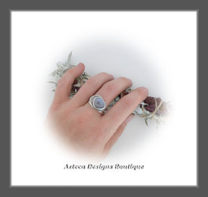 Rosecut Dendritic Opal Ring+Size 11+Argentium Silver Hand Fabricated Antique Finish