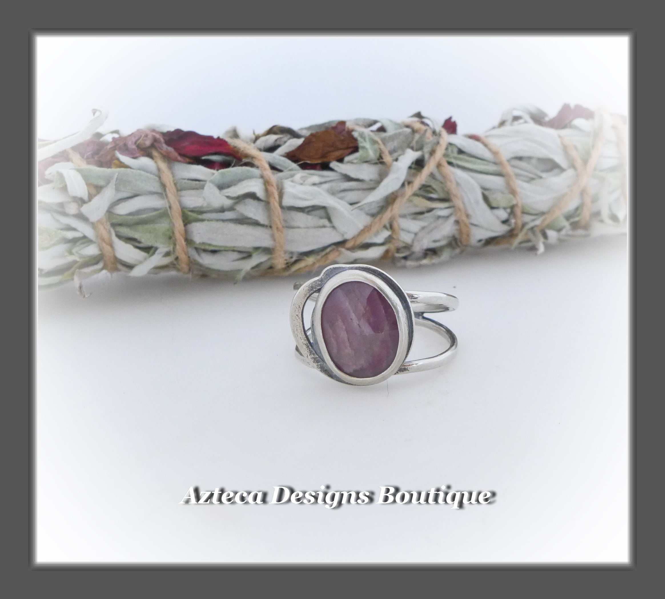 Rosecut Natural Pink Sapphire Ring+Size 11+Argentium Silver Hand Fabricated Antique Finish