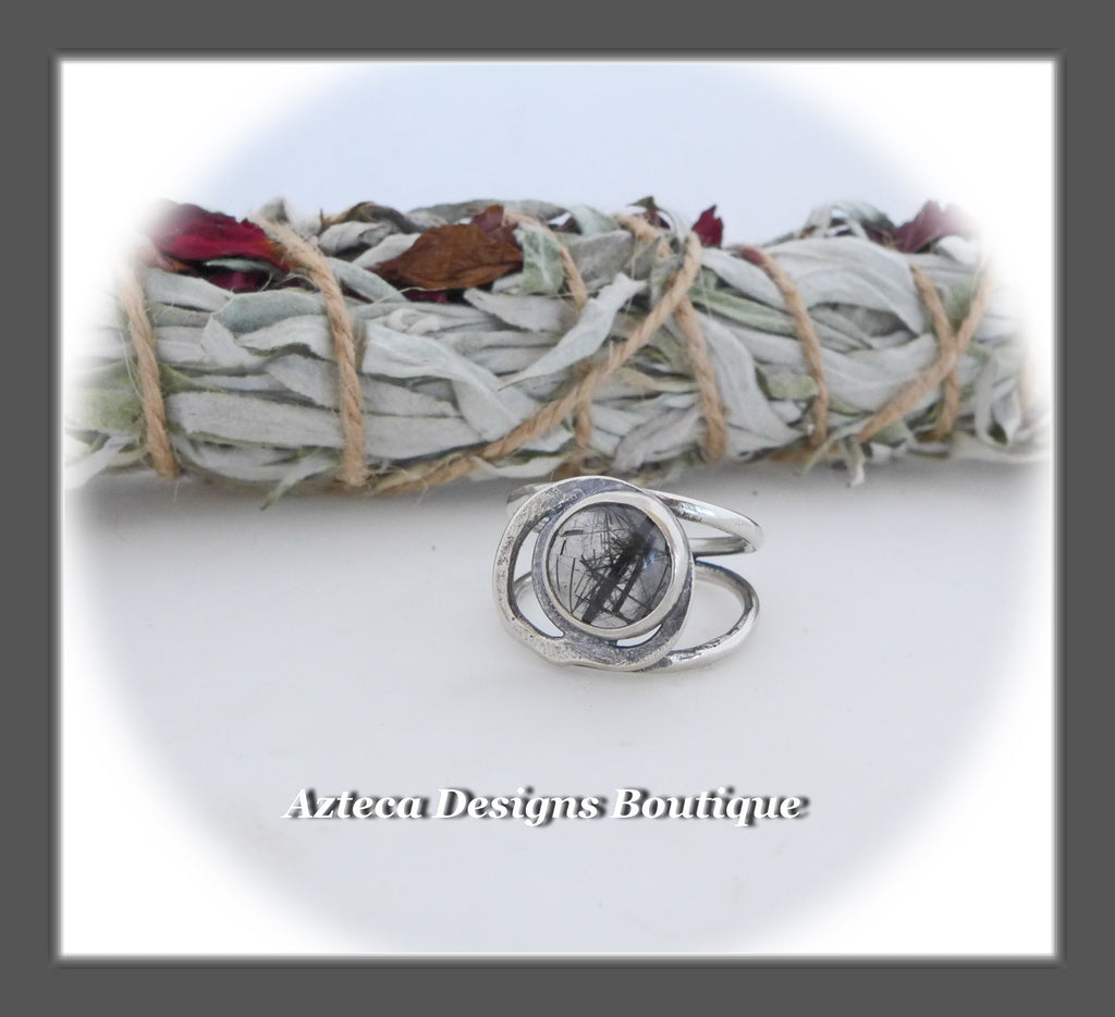 Rutilated Quartz Ring+Size 7+Argentium Silver Hand Fabricated Antique Finish