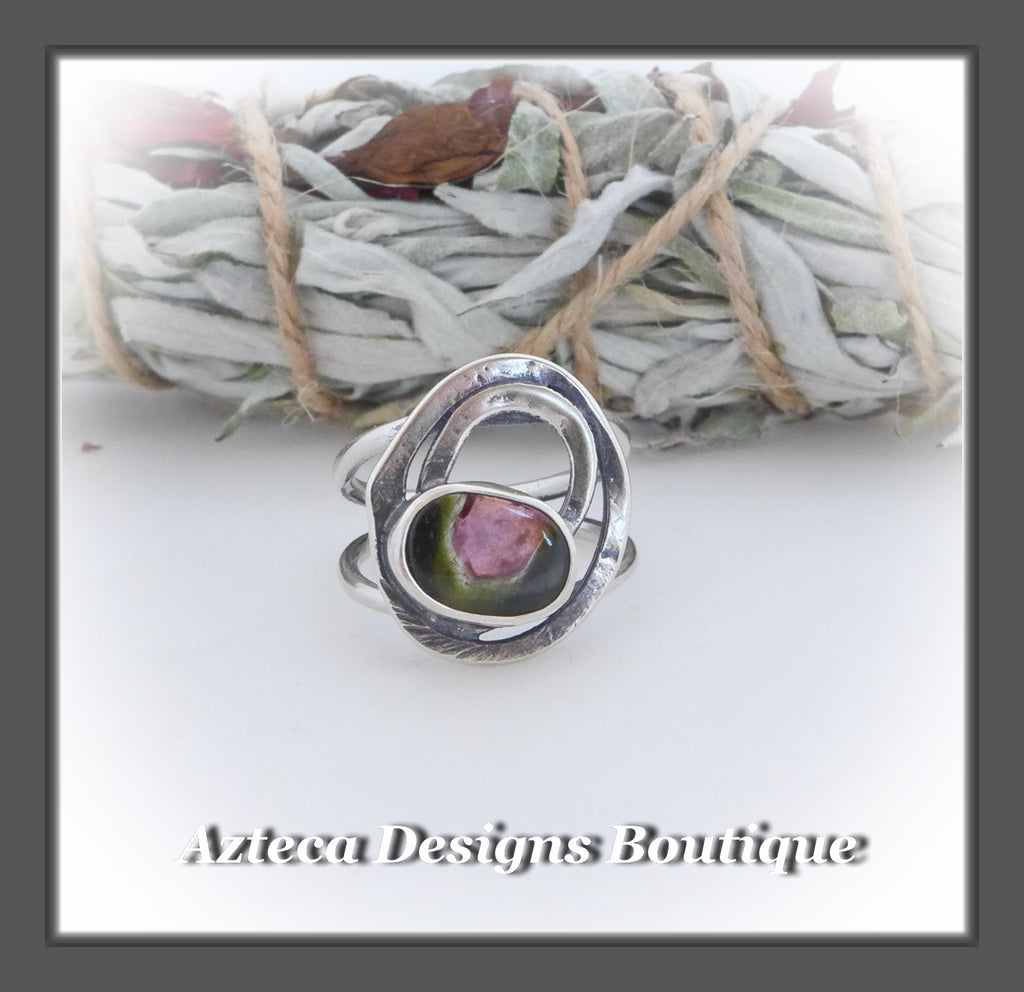 Watermelon Tourmaline Ring+Size 6+Argentium Silver Hand Fabricated Antique Finish