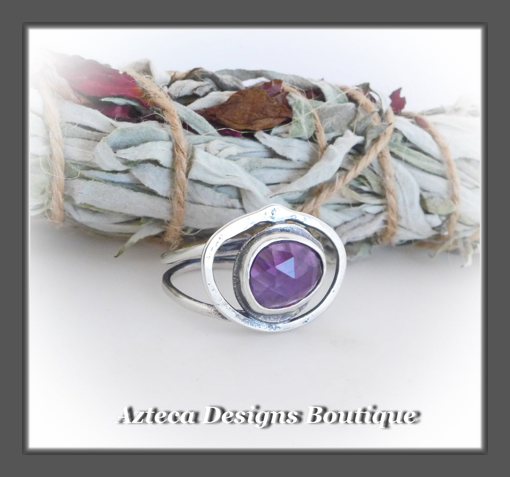 Rosecut Purple Amethyst Ring+Size 7+Argentium Silver Hand Fabricated Antique Finish