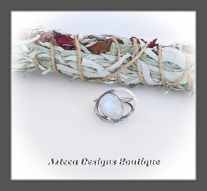 Rosecut Rainbow Moonstone Ring+Size 6.5+Argentium Silver Hand Fabricated Antique Finish