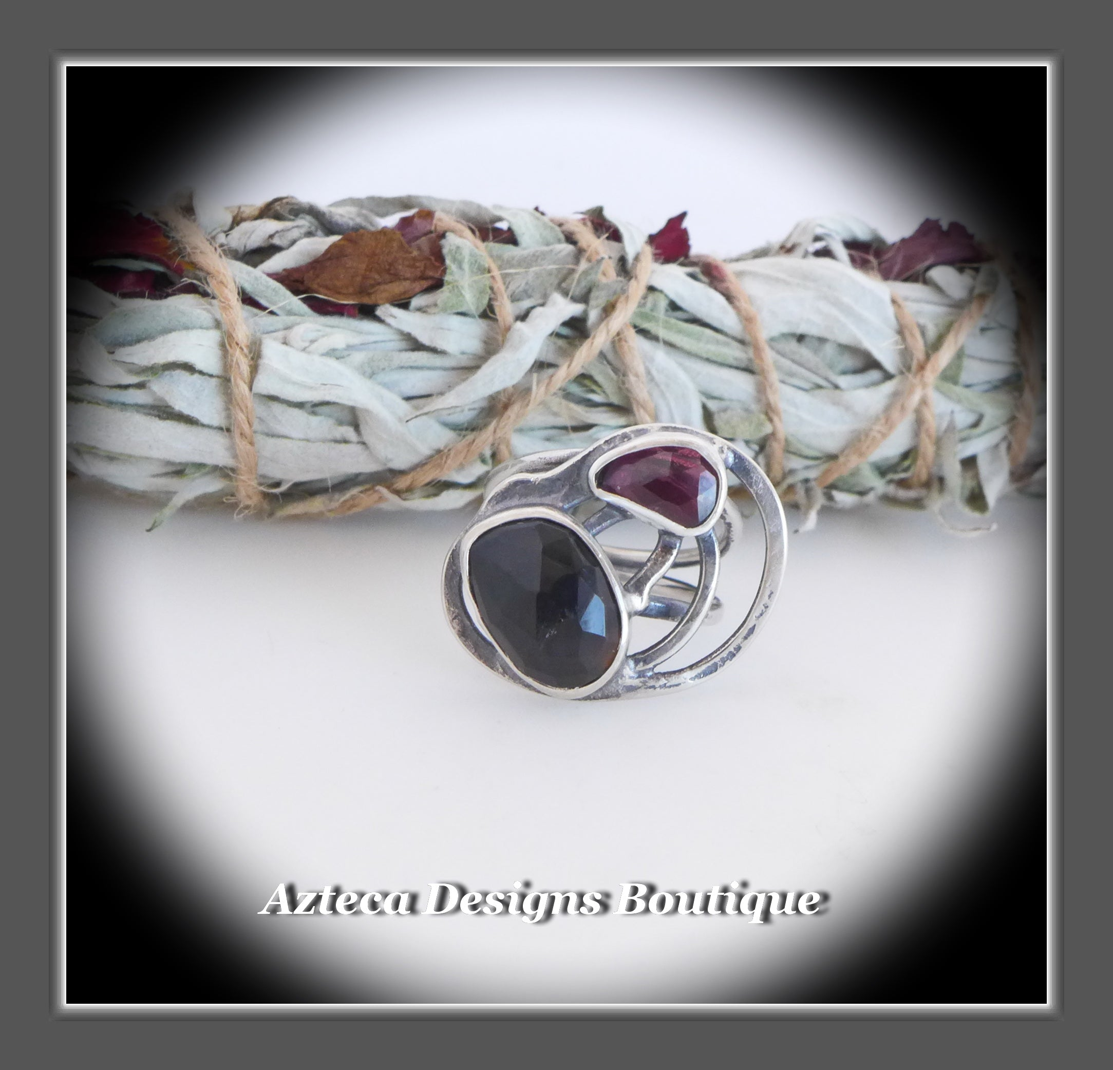 Rosecut Black Onyx Red Garnet Ring+Size 7+Argentium Silver Hand Fabricated Antique Finish