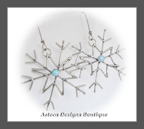 RESERVED FOR RENEE -Cultured Sterling Opal + Argentium Silver + Hand Fabricated Snowflake Earrings