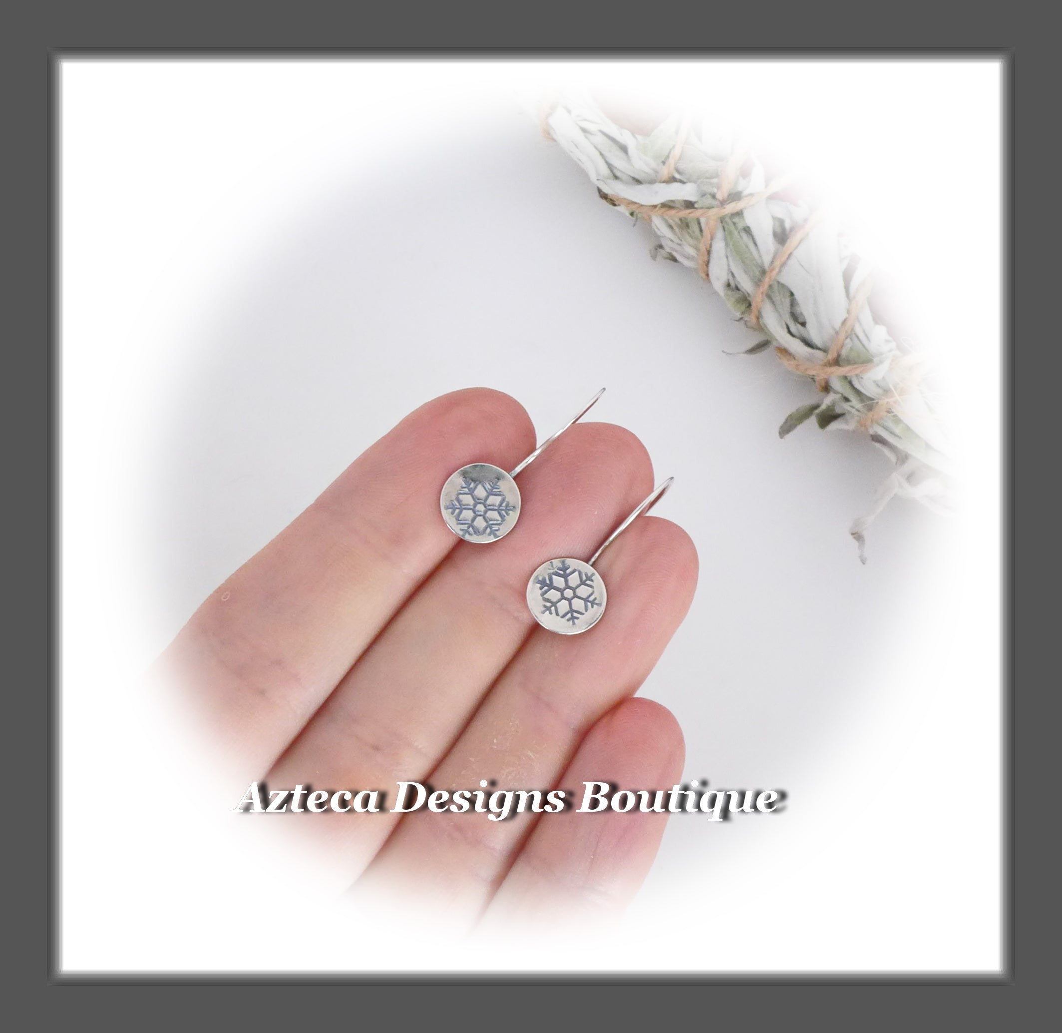 Argentium Silver+Snowflake+Minimalist Hook Earrings (pair 2)