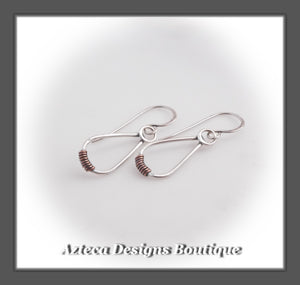 Argentium Silver+Copper Wrap+Petite Drop Earrings