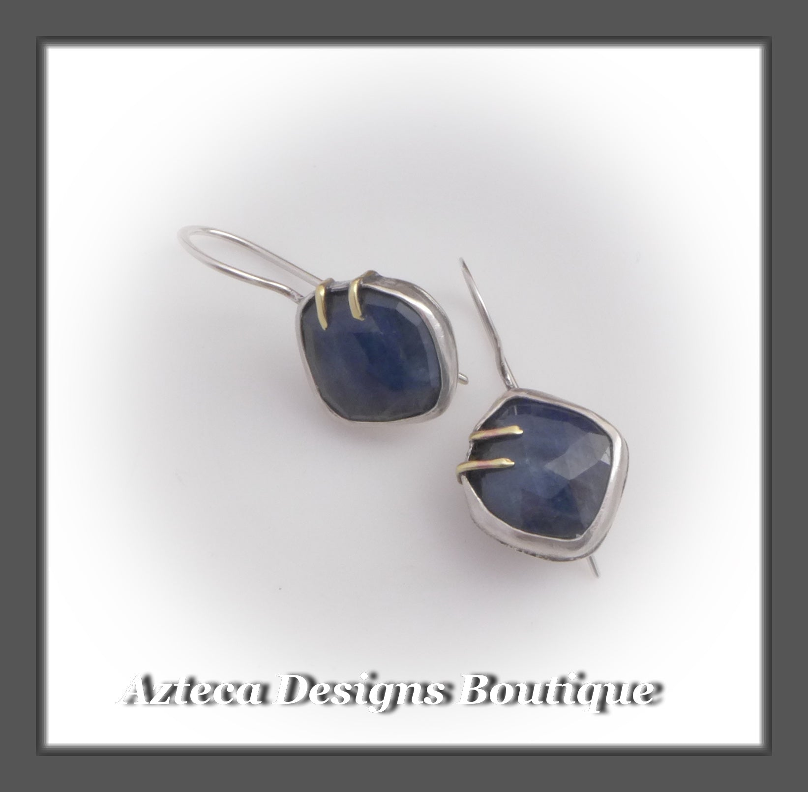 Rosecut Blue Sapphire+Argentium Silver+Brass+Latch Back Earrings