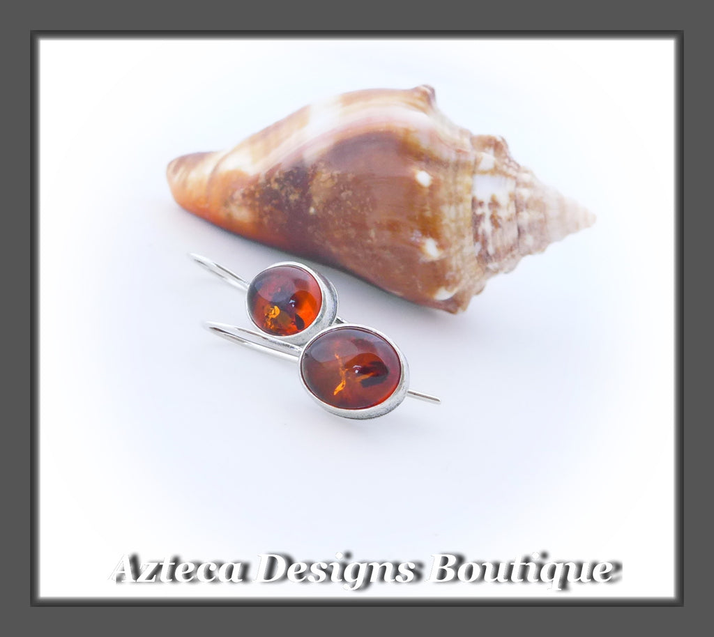 Oval Amber+Argentium Silver+Hook Latch Earrings