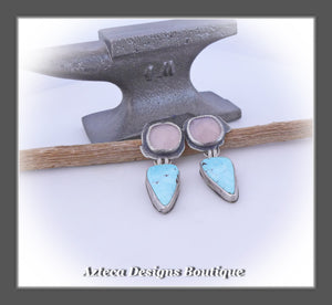 Fiercely Soft~Sierra Nevada Turquoise+Pink Chalcedony+Sterling Silver Hand Fabricated Earrings