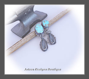 From Where~Santa Rita Turquoise+Hematite+Sterling Silver Hand Fabricated Earrings