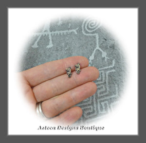 Tiny Lizards+Bronze+Sterling Silver+Post Earrings