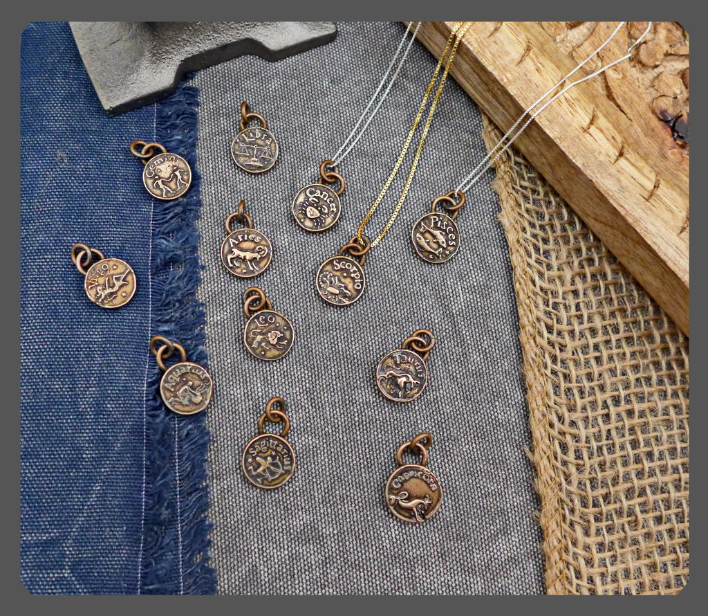 Bronze Zodiac Sign Charms+Hand Fabricated+Made To Order