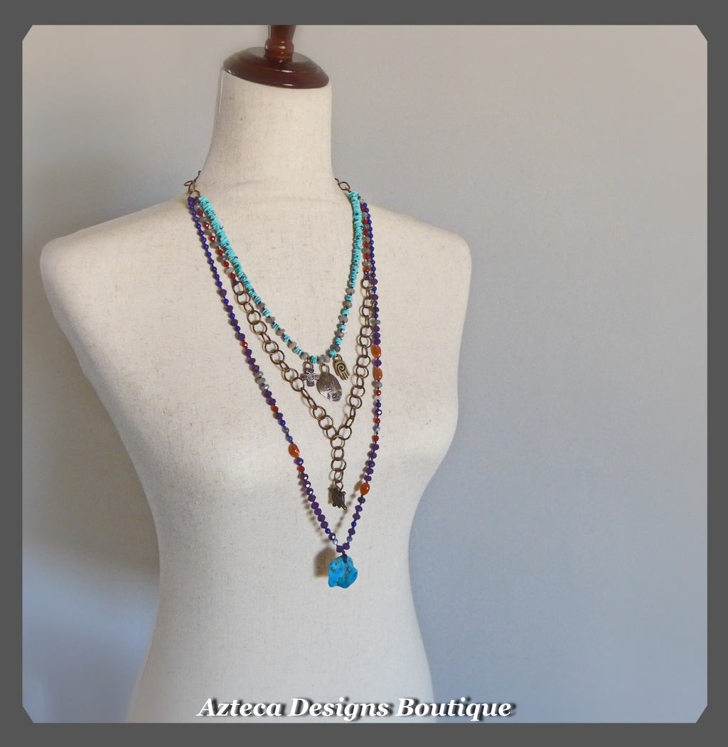 Desert Charm+Layered Gemstone+Turquoise+Bronze Charm Necklace
