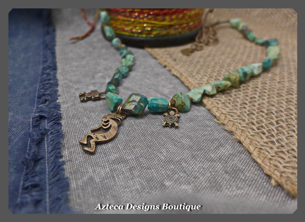 Chrysocolla+Bronze Southwest Charms+Bohemian Long Necklace