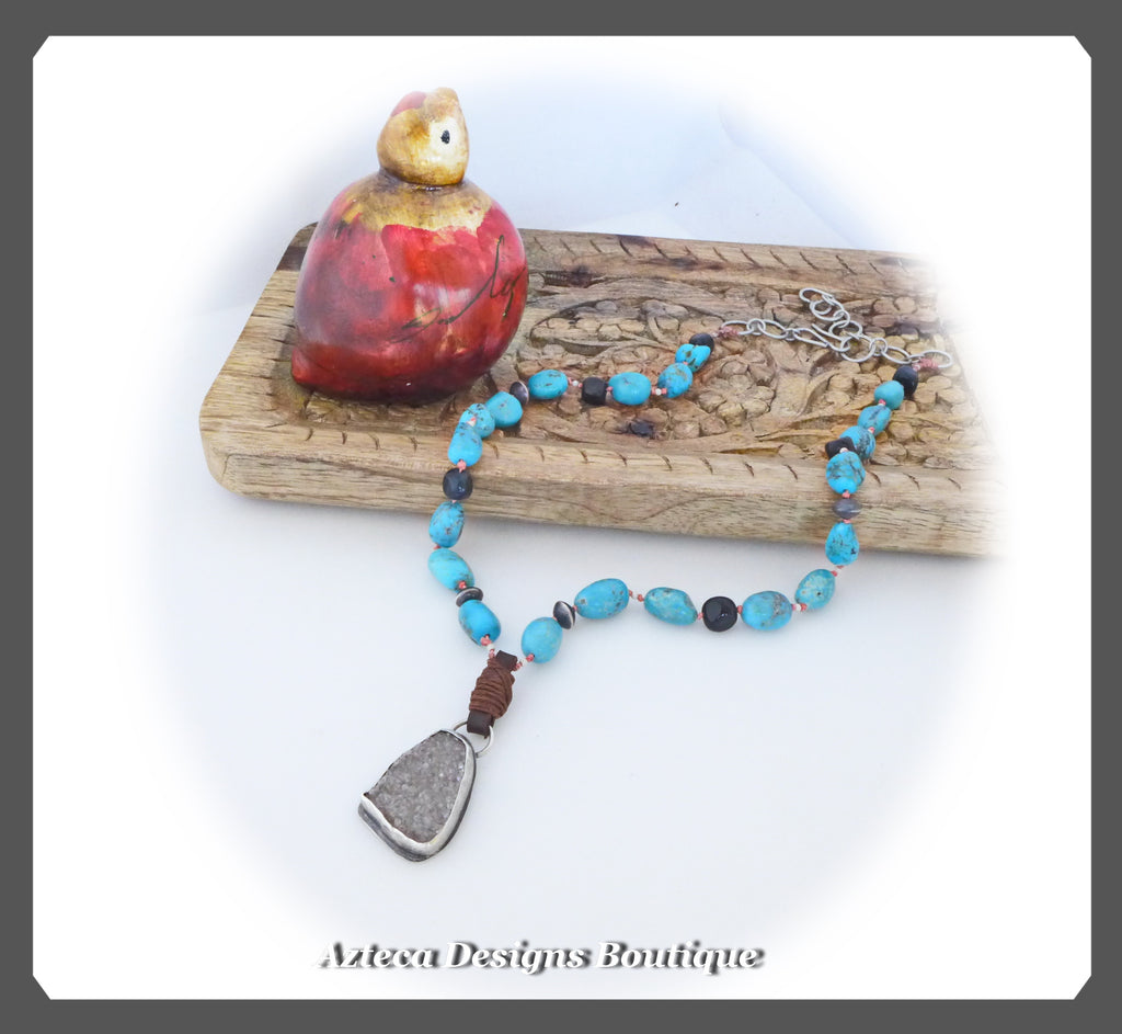Druzy+Blue Tigers' Eye+Campitos Turquoise+Sterling Silver Necklace