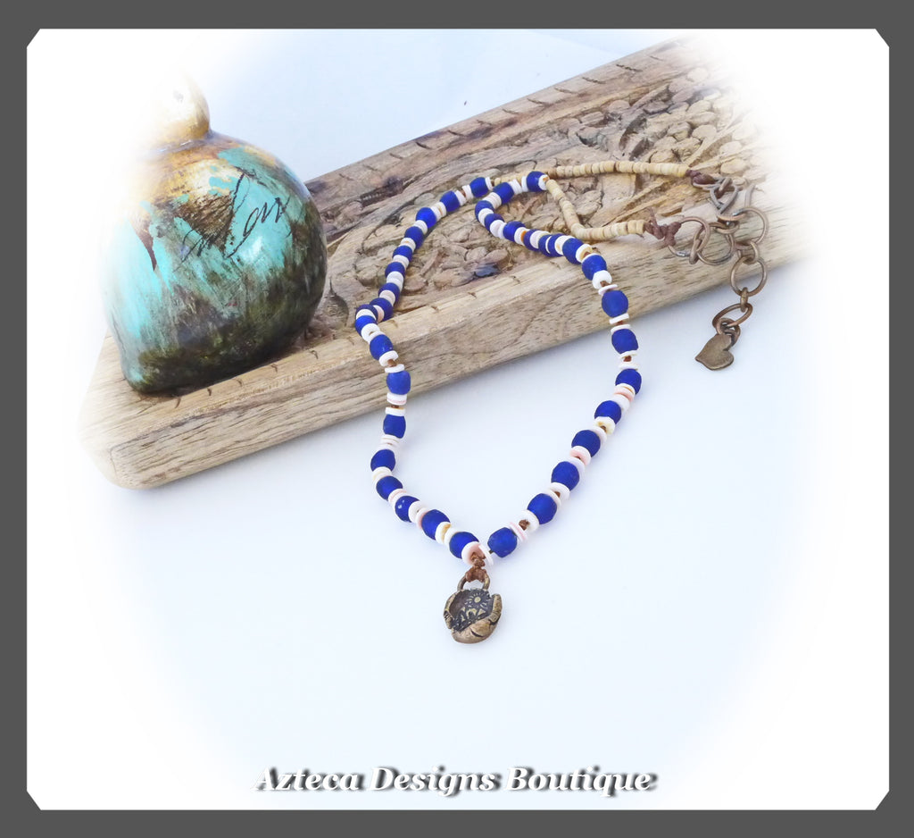 Recycled Blue Glass+Shell+Coconut+Bronze+Bohemian Knotted Necklace