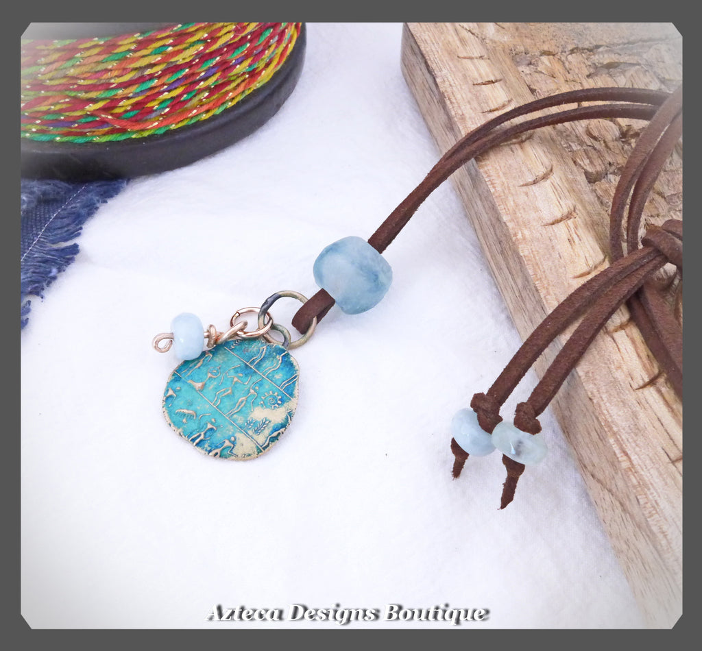 Through Time~Vegan Suede+Bronze+Aquamarine+Recycled Glass Bead+Artisan Necklace