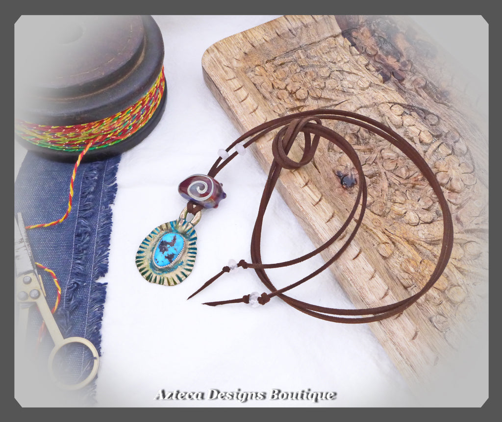 Through Time~Vegan Suede+Bronze+Kingman Turquoise+Lampwork Bead+Rose Quartz+Artisan Necklace