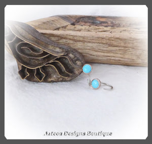 8mm Huggie Open Hoop Earrings+Sleeping Beauty Turquoise+Argentium Silver