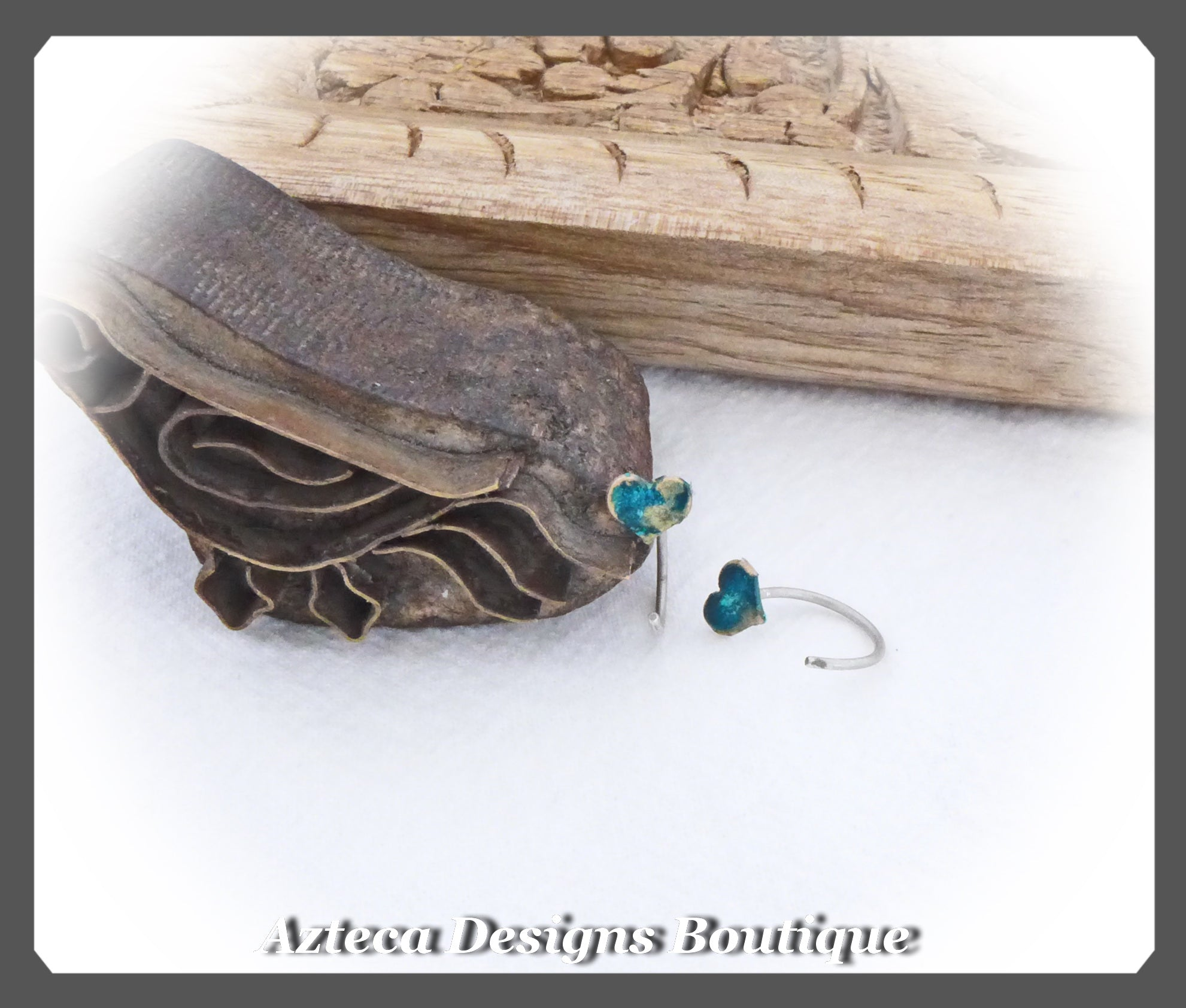 Huggie Open Hoop Heart Earrings+Blue Green Patina+Bronze+Sterling Silver
